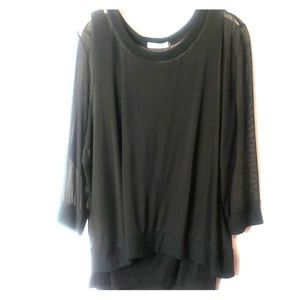 XL  OLivia Moon black top with mesh overlay.   C8